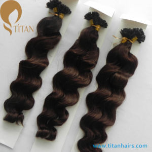Indian Remy Keratin Human Hair Extensions Wavy 4#