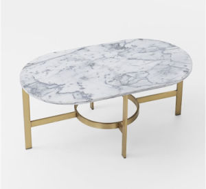 Golden Brush Stainless Steel Marble Coffee Table for Home (CCT-015) pictures & photos