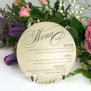 Engraved Round Acrylic Wedding Menus pictures & photos