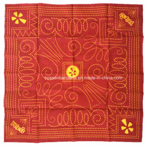China Factory Produce Customized Logo Printed Red 50*50cm Cotton Bandanna Big Handkerchief pictures & photos