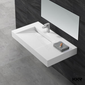 Acrylic Solid Surface Washroom Wall Hung Hand Wash Basin (171121) pictures & photos