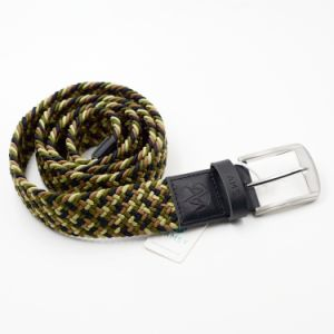 Custom Fashion Colored Fabric Waistband Web Elastic Belts with Silver Buckle pictures & photos