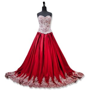 Pink Blue Party Prom Gown Red Wedding Dress Vestidos Lace Evening Dress P16100 pictures & photos
