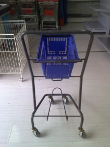 Store Rolling Go Cart Hand Basket Trolley pictures & photos