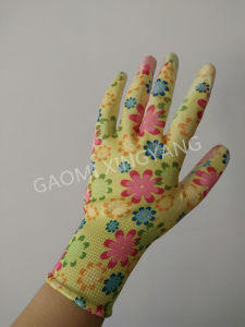 13 Gauge Polyester Liner Flower Printed Nitrile Coated Ladies Gardening Safety Work Glove (N6024) pictures & photos