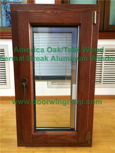 America Oak Wood Clad Aluminum Triple Glazing Tempered Glass Tilt & Turn Window, Aesthetic Home Casement Window pictures & photos