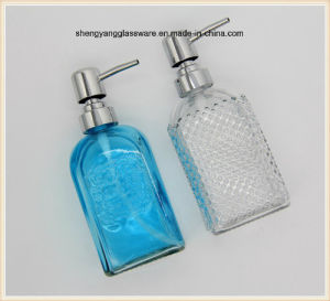 Colours Square Glass Liquid Soap Bottle with The Washroom pictures & photos