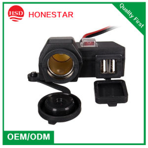 Motorbike Cigarette Lighter Socket with Dual USB Charging and Switch and Waterproof Cap pictures & photos