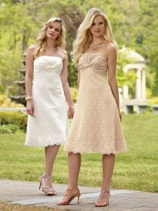 Elegant MID-Calf Length Strapless Bridesmaid Dress (BM062)