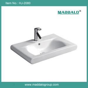 Rectangular Ceramic Basin, Modern Bathroom Basin (HJ-2080)