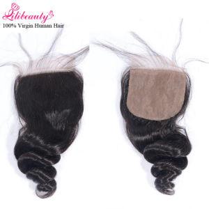 7A Grade Malaysian Human Hair Loose Wave 4X4 Silk Base Closure pictures & photos