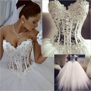 Pear Bodice Bridal Wedding Ball Gown Tulle Corset Sheer Wedding Dress Z101 pictures & photos
