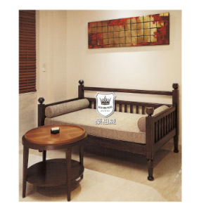 Ebony Wooden Sofa Cum Bed for Hotel pictures & photos