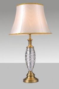 Phine 90149 Clear Crystal Table Lamp with Fabric Shade pictures & photos