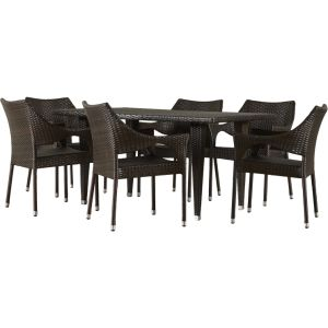 Well Furnir Environment-Friendly 7 Piece Rectangle Rattan Wicker Dining Sets pictures & photos