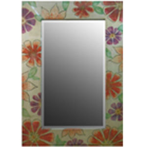 Modern Wooden Rectangle Mirror Frame with Flower Picture (LH-423741) pictures & photos