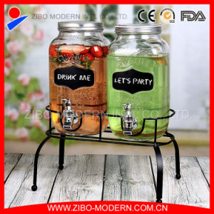 Hot Sales Glass Juice Dispenser with Tap and Metal Stand pictures & photos