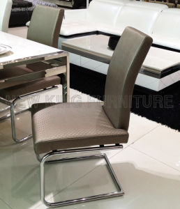 Modern Luxurious Chrome Steel Foot PU Leather Dining Chair (NK-DC093) pictures & photos