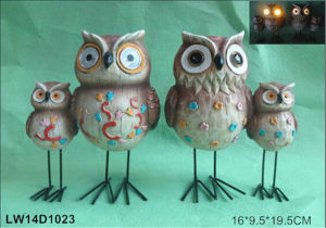 Resin Bird Owl Figurine Polyresin Craft Solar Light (JN15012812) pictures & photos