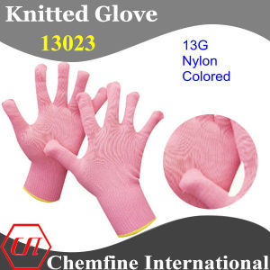 13G Pink Nylon Knitted Glove with Yellow Over Lock pictures & photos