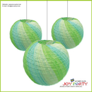 Green Ribbed High Quality Paper Lantern