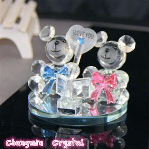 Crystal Glass Bear for Wedding Decoration