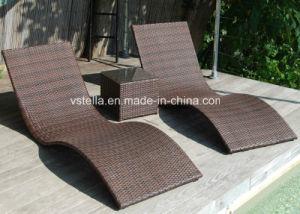 Outdoor Patio Garden Wicker Rattan Sunbed pictures & photos