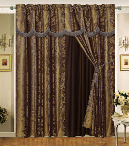 Luxury Jacquard Window Curtain with Lace Edge 01