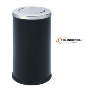 Circle Black Powder Coated Steel Indoor Dustbin pictures & photos