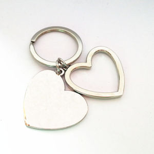 Promotional Gift Metal Heart Shape Keyring with Custom Logo (F1116)