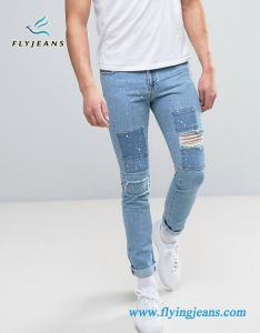 Denim Men Jeans with Paint Splatter & Patched pictures & photos