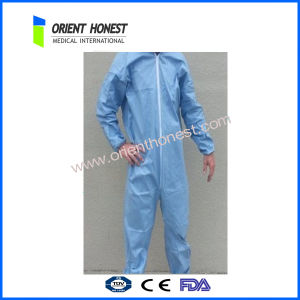 Blue Disposable Plastic Waterproof Coverall
