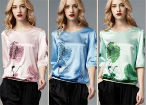 Wholesale Real Silk Loose Printing T-Shirt for Women pictures & photos
