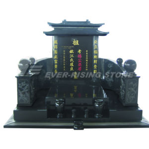 China Shanxi Black Granite Monument Asian Tombstone Emn