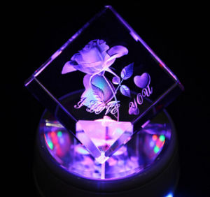 Favorites Compare Factory Supply K9 Crystal Cube Wholesale, Crystal Engraving Flower Souvenir Gifts pictures & photos