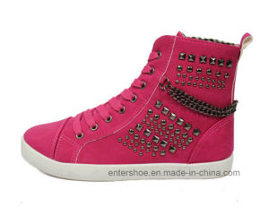 High Cut Injection Fashion PU Casual Shoes with Rivet (ET-MY170426W)