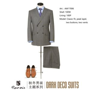 OEM 2 Piece Wool Classic Fit Men′s Business Suit pictures & photos