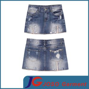 Women Denim Ripped Mini Skirts (JC2097) pictures & photos