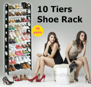 10 Tiers for 30 Pairs Shoes Metal Pipes Plastic Frame Shoe Racks pictures & photos