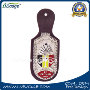 Business Leather Keychain with Metal Plates pictures & photos