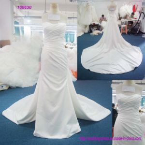 160630 China Factory Direct Strapless Sweetheart Neckline Pleasts Bodice and Backless A Line Wedding Dress pictures & photos
