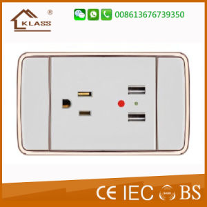 Flame Retardant PC Plastic 3gang 3pole Wall Socket pictures & photos