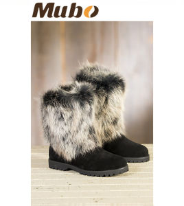 Women′s Neve Shearling Sheepskin Boots with Fox Fur Trim pictures & photos