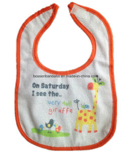 Custom Made Cartoon Printed Cotton Terry Customized Promotional Baby Bib pictures & photos