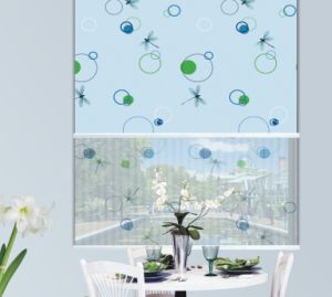 Flower Double Fabric Roller Blind, Indoor Windows Shades Blinds (Dc#1202) pictures & photos
