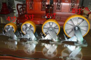 Swivel Caster with Aluminium PU Wheel Cast Iron Core Double Brake