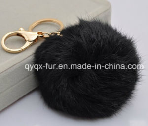 Big Genuine Rabbit Fur Ball Plush Key Chain Buckle Car Keychain pictures & photos
