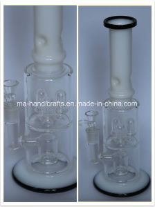 "15"" Milky White and Black Glass Water Pipes with Triple Perc pictures & photos"