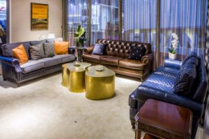 Fabric Leather Sofa with Beautiful Pillows pictures & photos