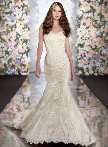Fashion Champagne Strapless Beading Mermaid Lace Wedding Bridal Dress
